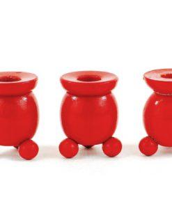 Träljusstake - tre kulljusstakar rödlackerade för julgransljus helhet