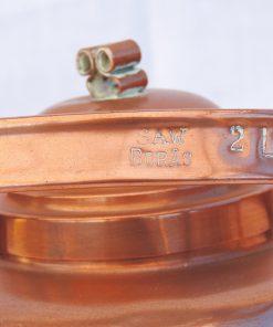 Kopparpanna - Kaffepetter SAW Borås med fläns och pigtail-lock detalj stämpel