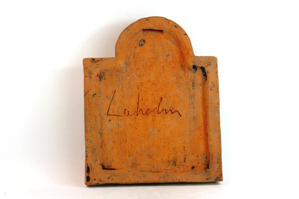 Keramiktavla - Väggplatta från Laholms keramik abstrakt signatur