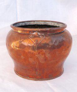 Kopparbunke - Kopparkruka handrullade nitar och kanter, antik; helhet