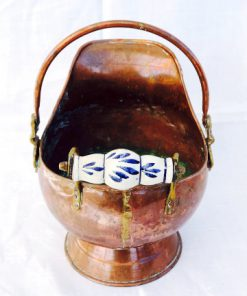 Kopparkanna - Kolkanna, vedkanna med porslinshandtag detalj handtag