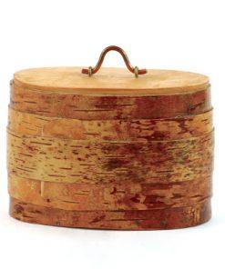 Näverburk - Oval burk med trälock och handtag helhet