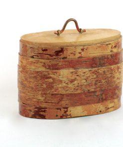 Näverburk - Oval burk med trälock och handtag sida
