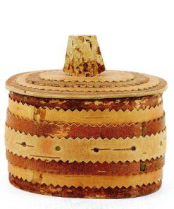 Näverburk – oval med lock och trähandtag helhet