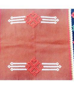 Bonad, hänge och duk av ylle hemvävd i Krabbasnår detalj