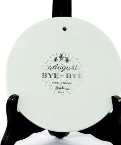 Väggplakett Björn Wiinblad – Månadstallrik augusti 'Bye-Bye' baksida