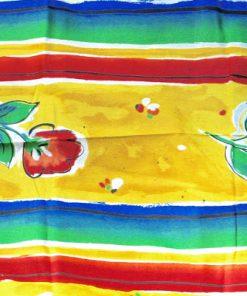 Retrotyg – Regnbågsfärger med tulpaner tryckt bomullstyg detalj