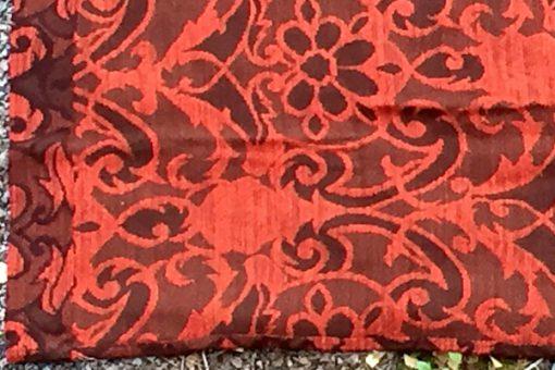 Draperi - Retrotextil vävd ull mustiga färger och mönster kant baksida