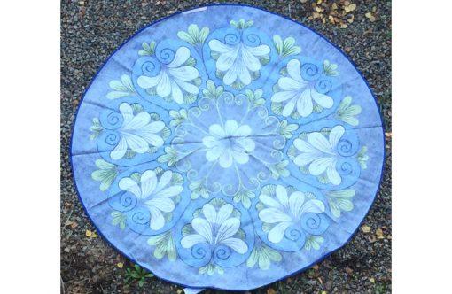 Retrotextil – Rund duk Almedahls bla blomma baksida