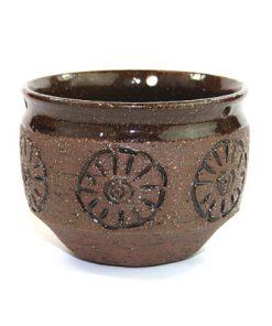 Keramikkruka från Laholm drejad stengods blomma 1960-tal
