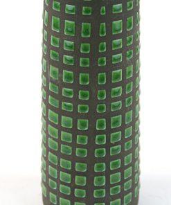 Keramikvas – Rutig Strehla Keramik 1227 East Germany detalj rutor
