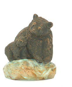 Björn - Skulptur Harry Tilgmans keramik hona & unge