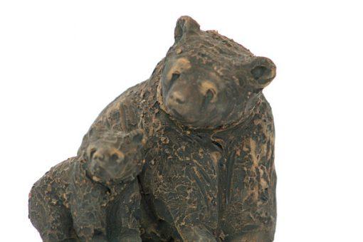 Björn - Skulptur Harry Tilgmans keramik hona & unge detalj ansikten