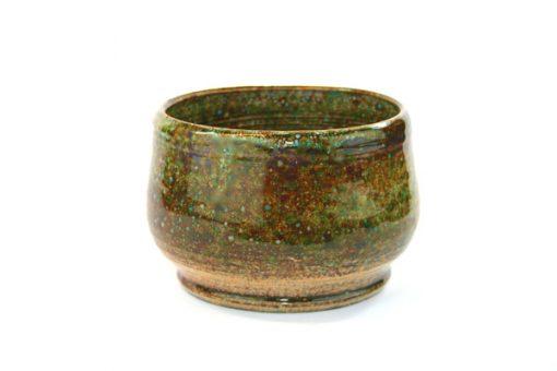 Keramikskål - Handdrejad grönglaserad signerad