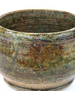 Keramikskål - Handdrejad grönglaserad signerad detalj
