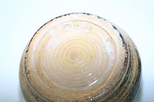 Keramikskål - Handdrejad grönglaserad signerad detalj signatur
