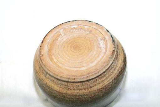 Keramikskål - Handdrejad grönglaserad signerad undersida