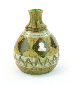 Keramikvas - Grön-glaserade romber och folie-etikett