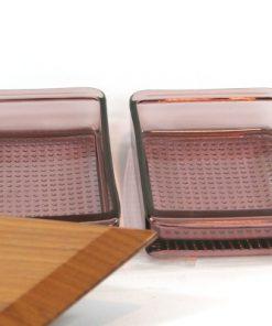 Teakbricka - Bricka från Holmbergs Götene med glasskålar detalj