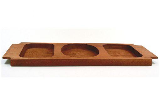 Teakbricka – Bricka med tre rosfria skålar fasningar