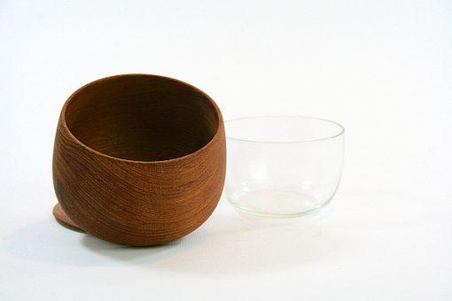 Teakskål med lock inneskål av glas - Ståko Sweden glasskal