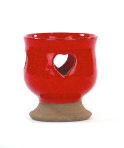 Ljuslykta - Handdrejad Alf Ekberg röd med hjärtan sida
