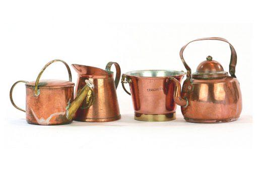 Kopparminiatyr - Kaffepetter, kopparkanna med lock samling