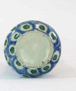Vas – Mindre majolika blå och vit Jugend & Art Noveau undersida