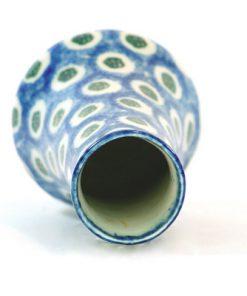 Vas – Mindre majolika blå och vit Jugend & Art Noveau oppning