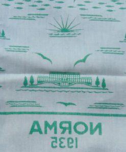 Linnedamast - Duk från restaurang NORMA 1935 detalj ljusgron sida