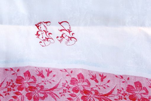 Förhänge paradhandduk - Linnedamast broderat monogram detalj bakstycke