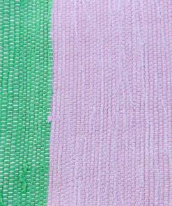 Hemvävd sommarduk av bomull i trasmatteteknik detalj
