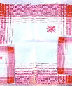 Juldukar - Tre broderade tabletter, servetter julstjärnor alla tre