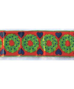 Retroduk – Löpare kransar & hjärtan tryckt bomullstyg 70-tal