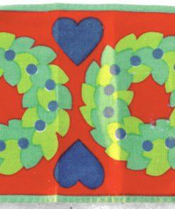 Retroduk – Löpare kransar & hjärtan tryckt bomullstyg 70-tal detalj framsida