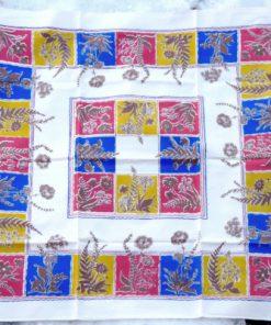 Retrotyg – Duk med ram av rutor & blommor 1960-tal ram av rutor