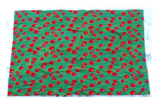 Retrotyg – Röda tulpaner tryckt bomullstyg 80-tal helhet