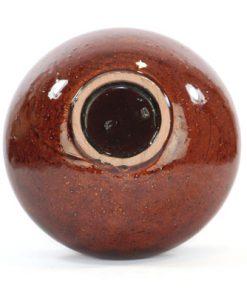 Keramikskål - Gabriel keramik högblank rödbrun glasyr undersida