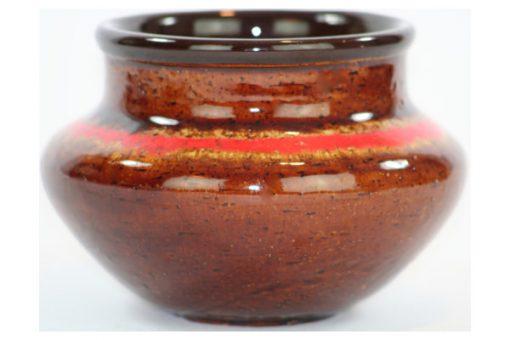 Keramikskål - Gabriel keramik högblank rödbrun glasyr detalj