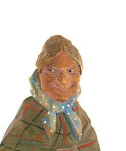 C O Trygg signerad tragumma och traskulptur detalj ansikte