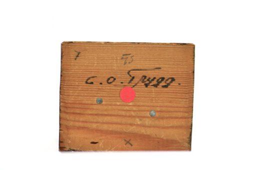 C O Trygg signerad tragumma och traskulptur signatur