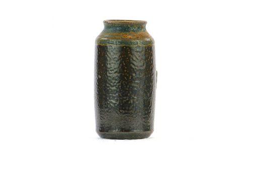 Miniatyrvas Wallakra glaserad gronbrun stengods helhet