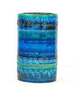 Bitossi Rimini Blue keramikvas cylinder Aldo Londi