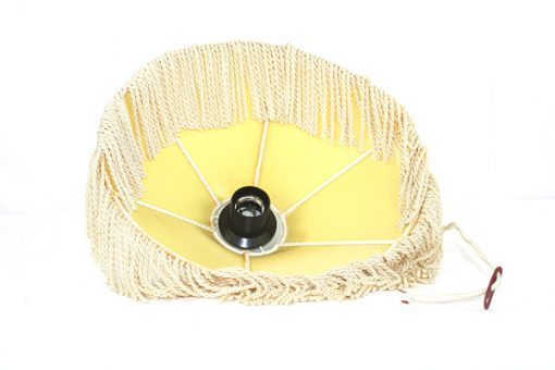Taklampa med fransar - Cremevit textilskärm kantband insida