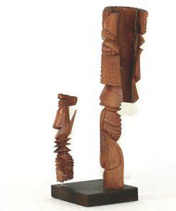 Carl-Axel Lunding träskulptur två figurer pa sockel 1952 baksida