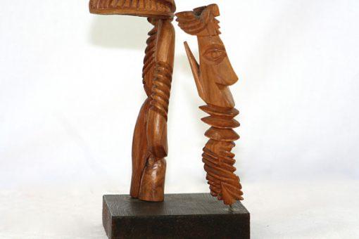 Carl-Axel Lunding träskulptur två figurer pa sockel 1952 profil