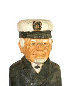 RB Tragubbe – Sjokapten traskulptur snidad sailor detalj ansikte