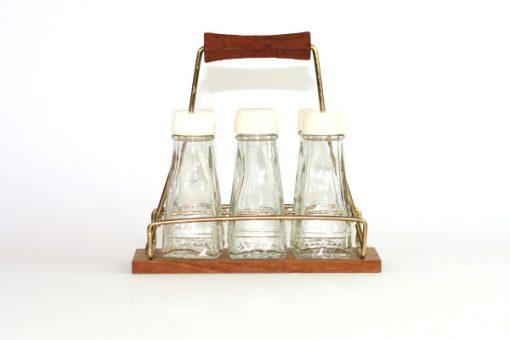 Kryddstall av teak - rostfritt stal och sex glasflaskor helhet