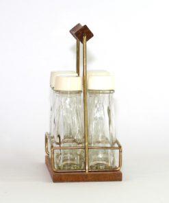 Kryddstall av teak - rostfritt stal och sex glasflaskor sida