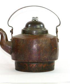 Kopparpanna antik – Kaffepetter med piplock och nitar sida